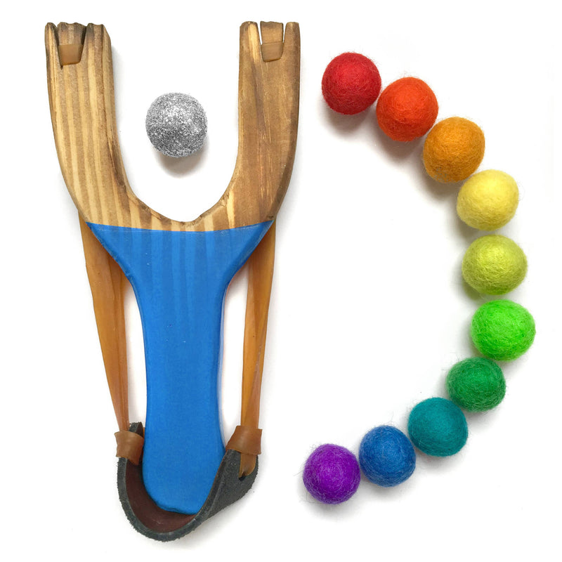 Little Lark - Deluxe Rainbow Wooden Slingshot With 1 Silver Glitter Ball