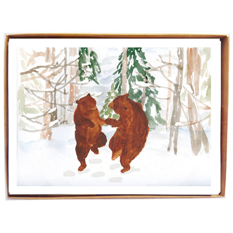 mollyOcards - Dancing Bears in Snow