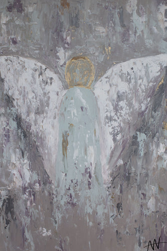 Hand painted Guardian Angel on Canvas