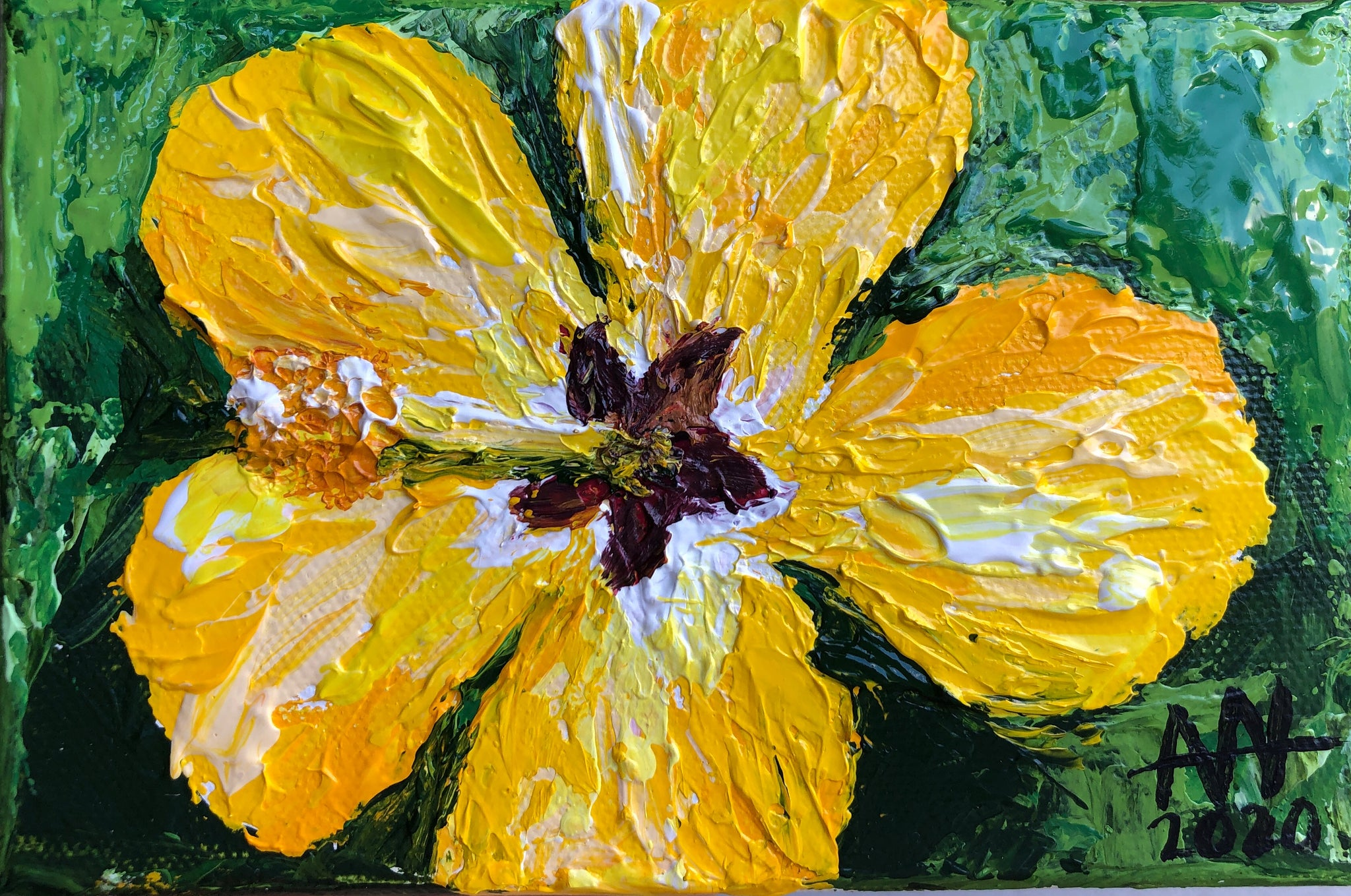 Golden Hibiscus (Hand Painted Original)