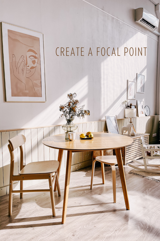 A art print that is placed above a table