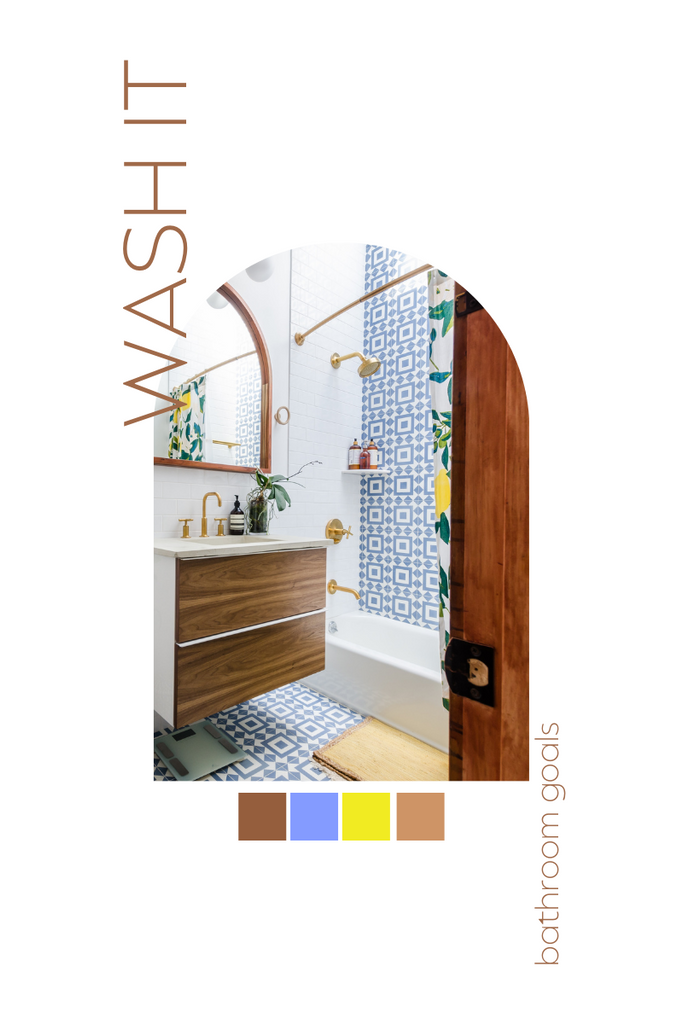bathroom with wall paper