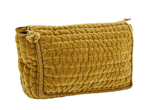 MUSTARD QUILTED WASH BAGS