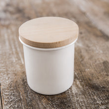 Load image into Gallery viewer, WHITE ENAMEL CANISTER