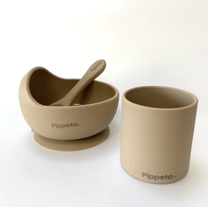 TAUPE SUCTION BOWL & SPOON