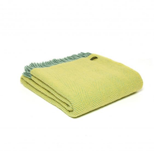 LEMON OCEAN HERRINGBONE LUXURY LAMBSWOOL BLANKET