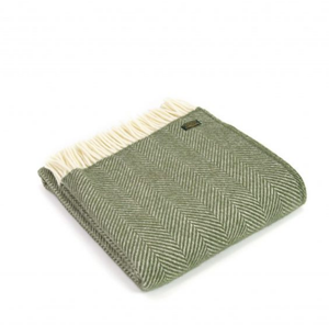 OLIVE FISHBONE LUXURY LAMBSWOOL BLANKET