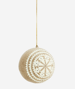 Handpainted Natural, White & Gold paper bauble