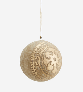 Handpainted Natural & Gold Paper Bauble