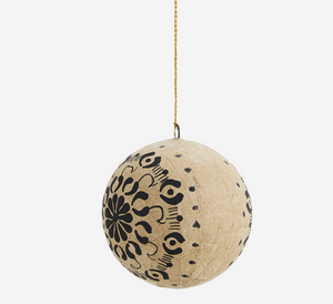 Handpainted Black & Gold Paper Bauble