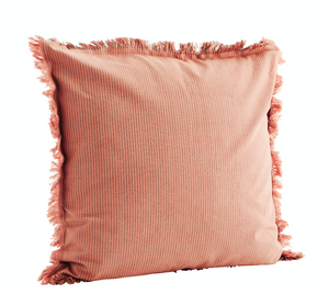 ROSE & GREY Striped cushion with organic cotton fringes