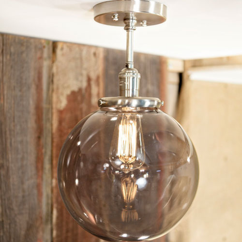 Modern Smoke Globe Fixture - Semiflush - Satin Nickel Hardware - 10 Inch | Genuine Hand Blown in the USA Glass Globe