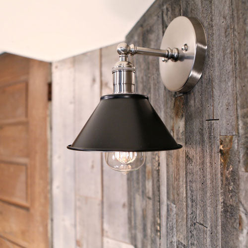 Sconce Lighting – Flat Black Metal Shade – 7 Inch