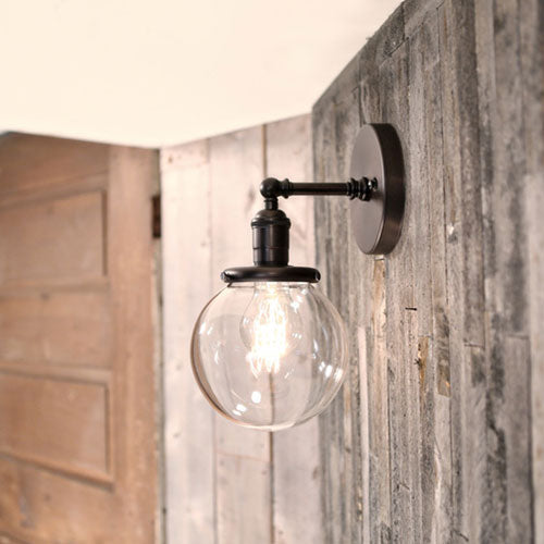Sconce Lighting - Clear Glass Globe - 6 Inch