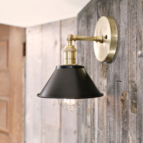 Sconce - Black Shade and Raw Brass Finish - 7 Inch