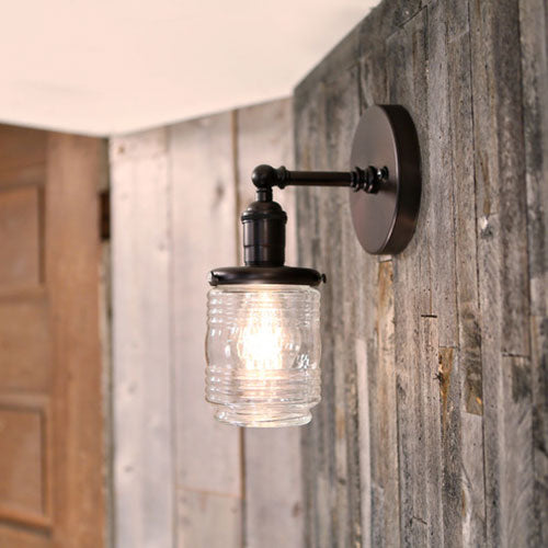 Jar Style Sconce Light in Clear Glass - 4 Inch