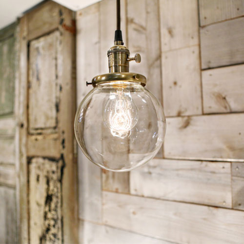 Modern Clear Glass Globe - Pendant Light - Antique Brass Hardware - 6 Inch  | Genuine Hand Blown in the USA Glass Globe