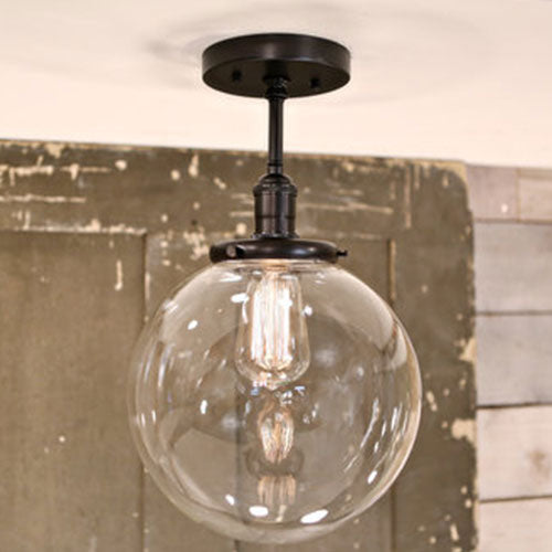 Modern Clear Glass Globe Lighting  - Semiflush  - Black Hardware - 10 Inch | Genuine Hand Blown in the USA Glass Globe