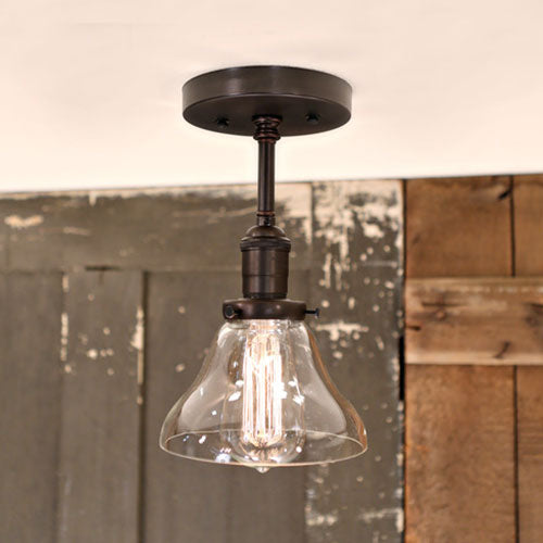 Modern Tapered Clear Open Glass Shade- Black Hardware - Downrod-  6 Inch | Genuine Hand Blown in the USA Glass Shade