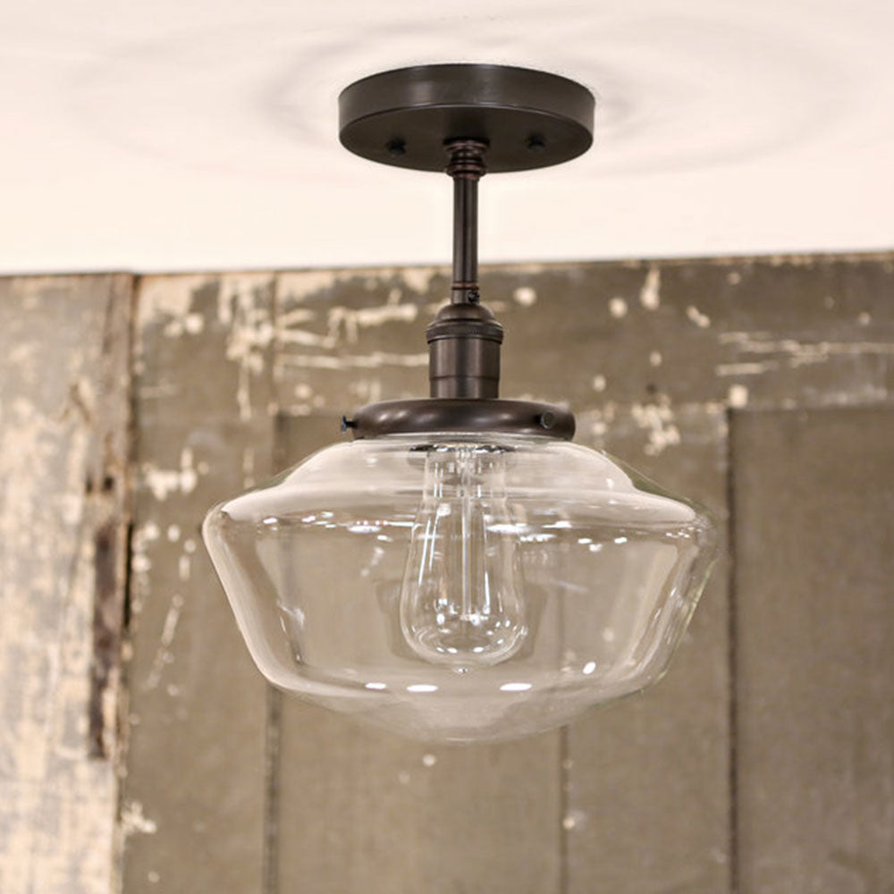 Modern Schoolhouse Glass -Semi Flush Fixture - Oil Rubbed Bronze Hardware - 10 Inch | Genuine Hand Blown in the USA Glass Shade