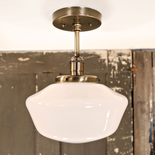 Modern Opal Schoolhouse Glass Fixture -Antique Brass Hardware - Downrod   - 10 Inch | Genuine Hand Blown in the USA Glass Shade