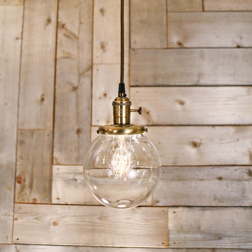 Pendant Light - Clear Glass Globe - 6 Inch