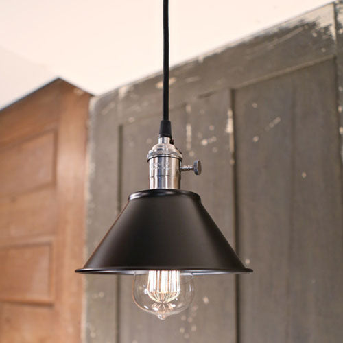 Black Industrial Pendant Light - 7 inch