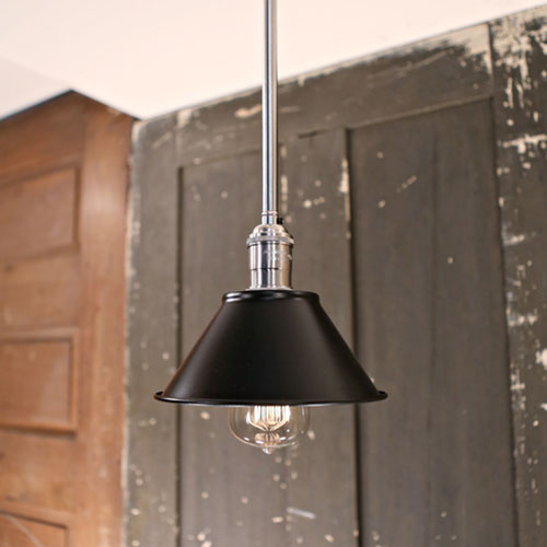 Pendant with Downrod -  Black Metal Shade - 7 Inch