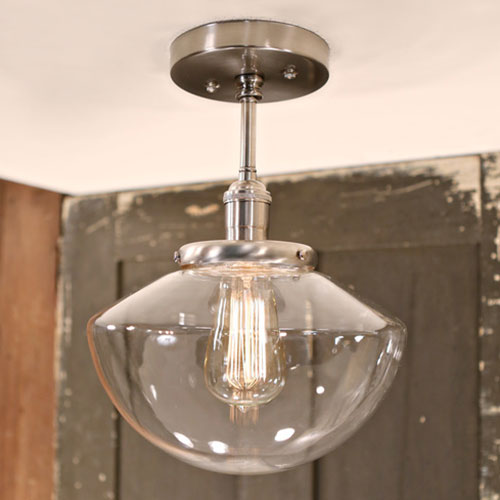 Modern Soft Tapered Clear Glass Fixture - Semiflush - Satin Nickel Hardware-  10 Inch | Genuine Hand Blown in the USA Glass Shade