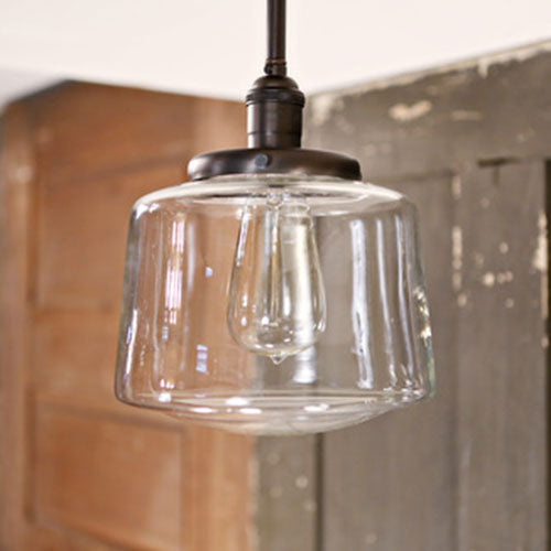 Modern Clear Taper Glass Drum Shade Light Fixture  - Semi Flush - Ceiling Hung - Oil Rubbed Bronze Finish - 8 inch | Genuine Hand Blown in the USA Glass Shade