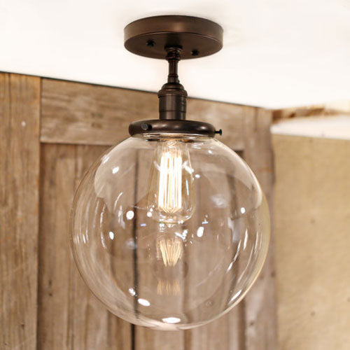 Flush Ceiling Fixture - Clear Glass Globe - 10 Inch