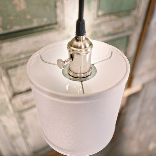 Modern Burlap Drum Shade - Pendant Light - Oil Rubbed Bronze Finish - Homespun Cream Shade - 6 Inch