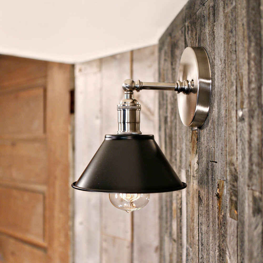 Industrial Style - Flat Black Metal Sconce - Black Shade - Wall Hung - Satin Nickel Hardware -  7 Inch