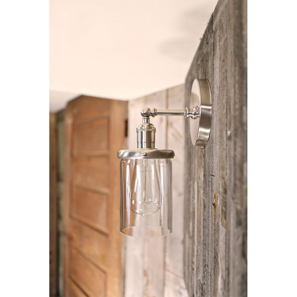 Wall Sconce Fixture - Clear Cylinder Glass - 4 Inch