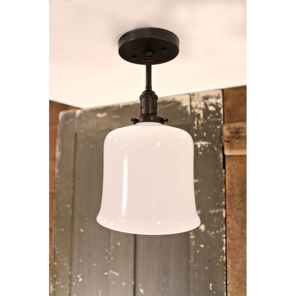 Modern Flared Open Opal Shade -  Semiflush Fixture - Ceiling Hung - Black Hardware - 8 Inch | Genuine Hand Blown in the USA Glass Shade