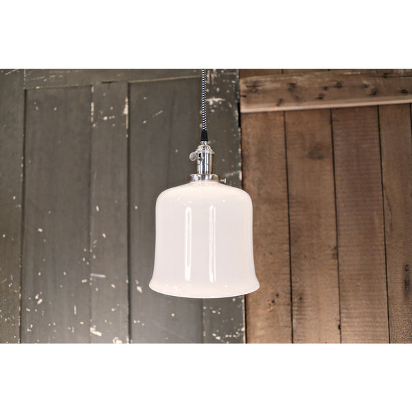 Modern Flared Open Opal Shade - Pendant Fixture - Ceiling Hung - Satin Nickel -  8 Inch | Genuine Hand Blown in the USA Glass Shade
