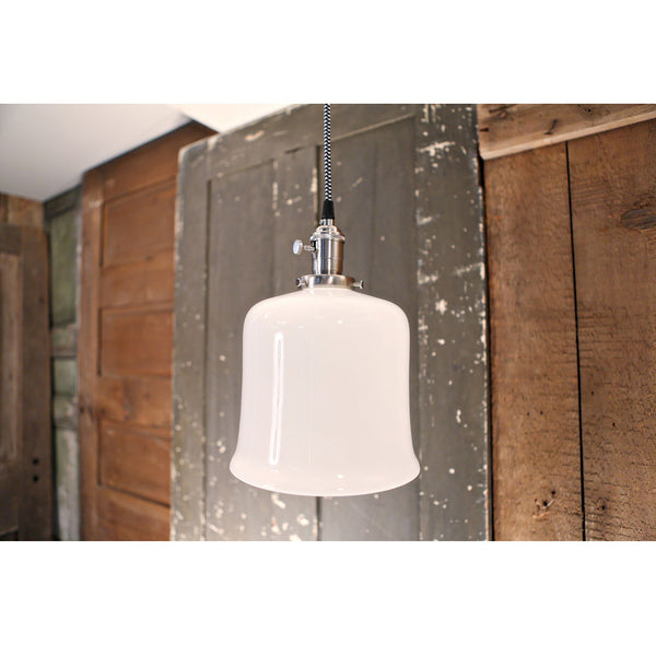 Flared Open Opal Shade Pendant Fixture - 8 Inch | Genuine Hand Blown in the USA