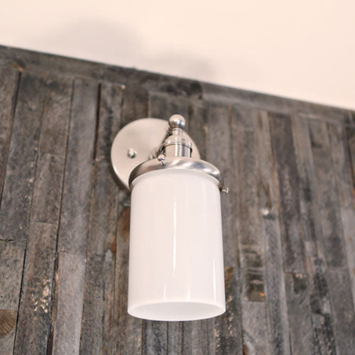 Wall Sconce Fixture - Opal Cylinder Glass - Satin Nickel Hardware - Wall Mounted - 4 Inch | Genuine Hand Blown in the USA Opal Glass Shade