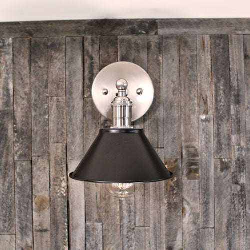Sconce  – Flat Black Metal Shade – Satin Nickel Hardware - Wall Mounted -  7 Inch