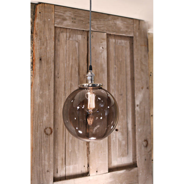Modern Smoke Glass Globe Fixture - Pendent - Satin Nickel Hardware - 10 Inch | Genuine Hand Blown in the USA Glass Globe