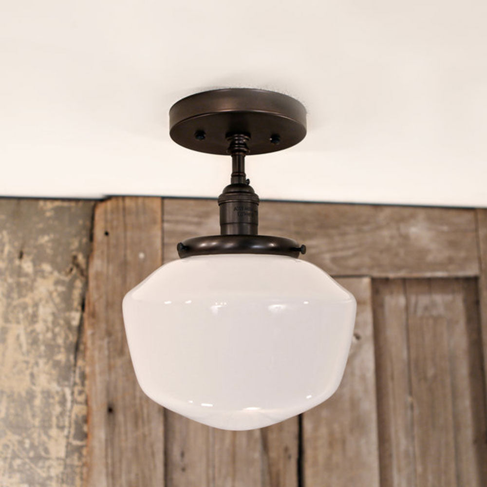 Modern Opal Schoolhouse Glass - Flush Style Ceiling Fixture - 8 Inch | Genuine Hand Blown in the USA Glass Shade