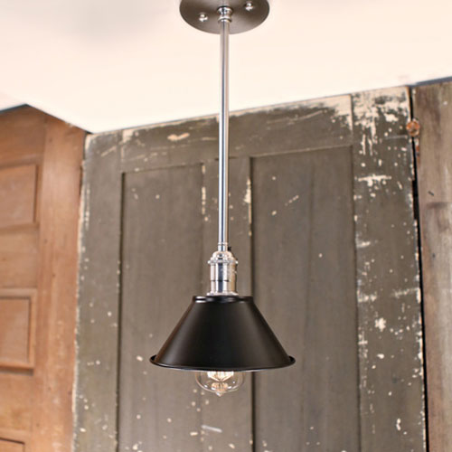 Modern Black Metal Shade Pendant Light - Down Rod - Satin Brass Hardware-  - 7 Inch