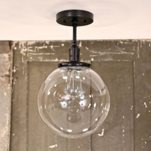 Semiflush Lighting with Clear Glass Globe - 10 Inch