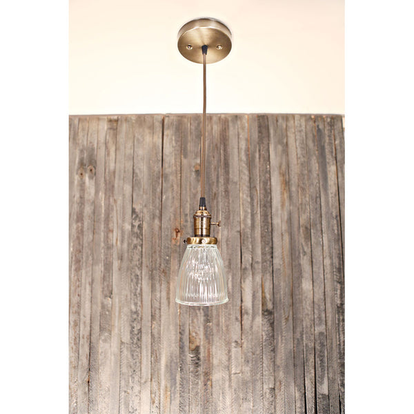Modern Holophane Style Clear Petite Glass Fixture - Ceiling Hung - Satin Brass - 5 Inch