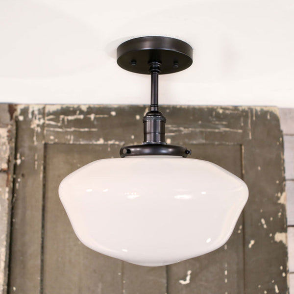 Schoolhouse Style Opal Semiflush Fixture - 12 Inch| Genuine Hand Blown in the USA