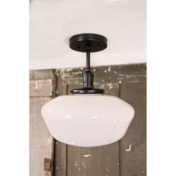 Modern Schoolhouse Style Opal Fixture - Semi Flush - Black Hardware - 10 Inch | Genuine Hand Blown in the USA Glass Shade