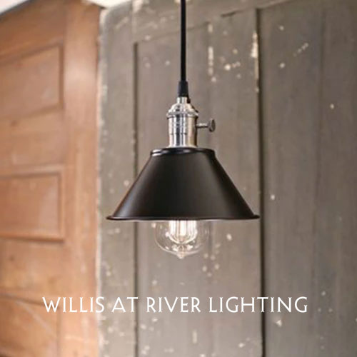 Modern - Black Industrial Style Pendant Light - Ceiling Hung Fixture - Satin Nickel Hardware - 7 Inch