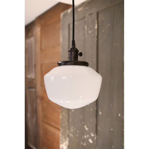 Modern Opal Schoolhouse Style Glass Fixture -Oil Rubbed Bronze Hardware - 8 Inch | Genuine Hand Blown in the USA