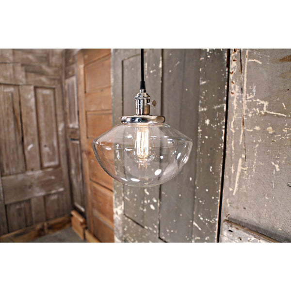 Modern Pendant Lighting with Soft Tapered Glass Shade - Wire Hung - Satin Nickel - 10 Inch | Genuine Hand Blown in the USA Glass Shade