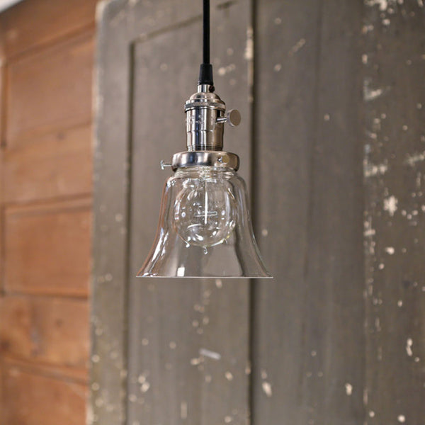 Clear Small Flared Glass Pendant Light - Ceiling Hung - Satin Nickel Finish - 6 Inch | Genuine Hand Blown in the USA Glass Shade